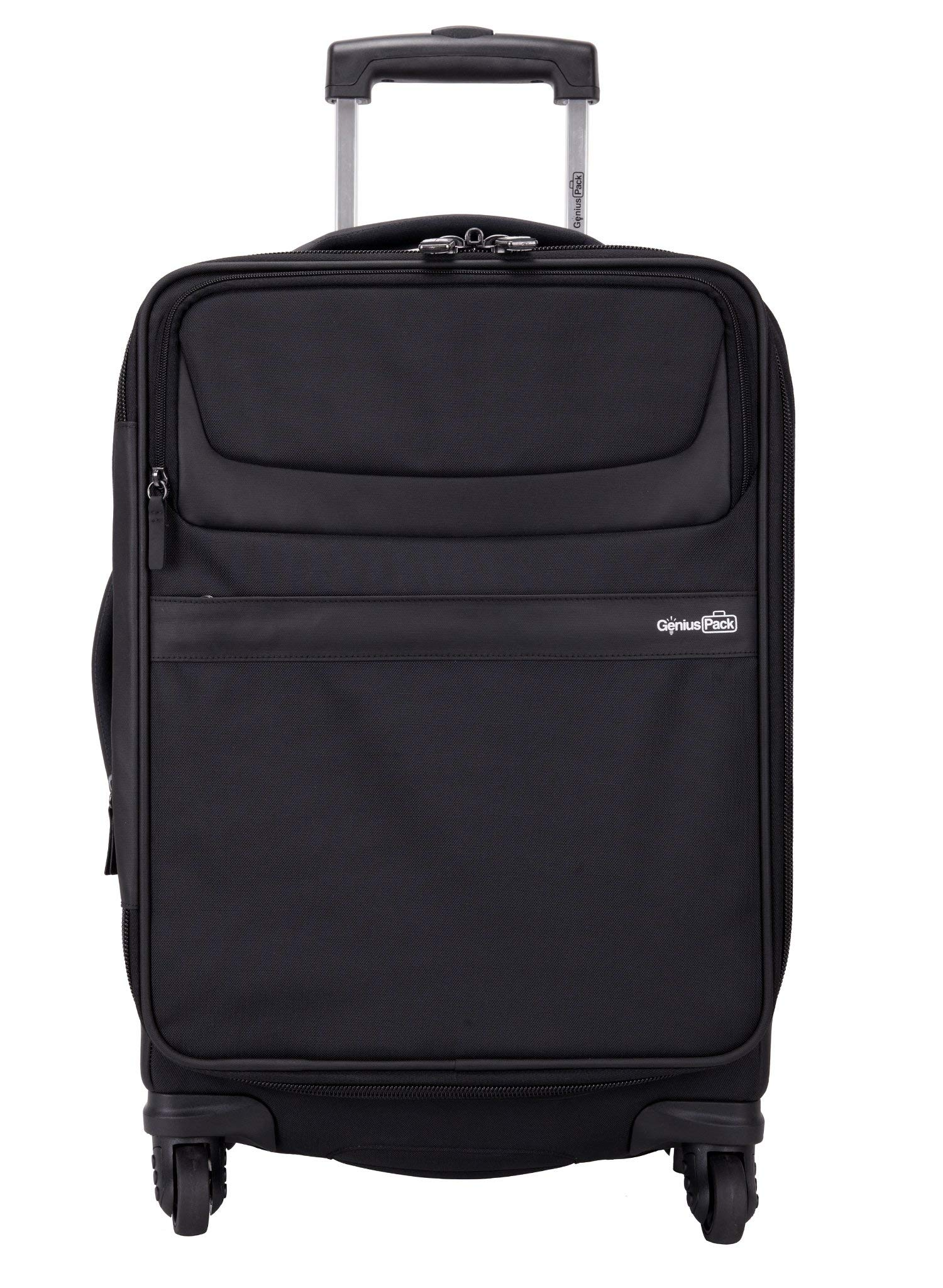 Genius Pack G4 22'' Carry On Spinner Luggage - Smart, Organized, Lightweight Suitcase (G4 - Black)