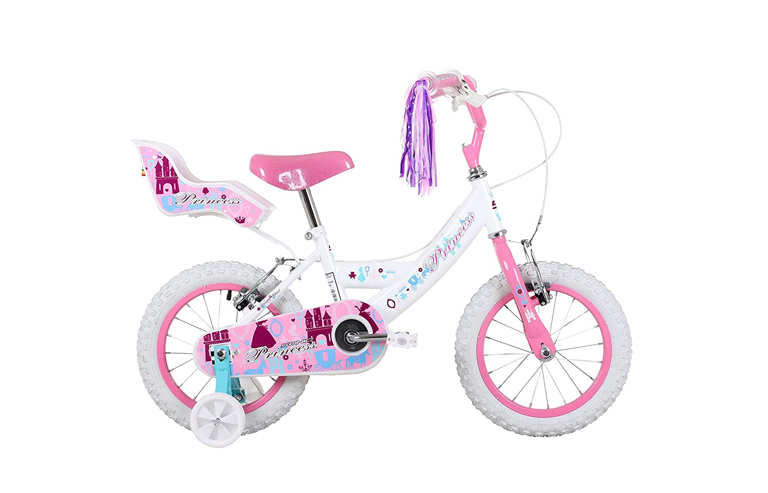 Sonic Princess Girls  14 inch wheel bike White   Pink