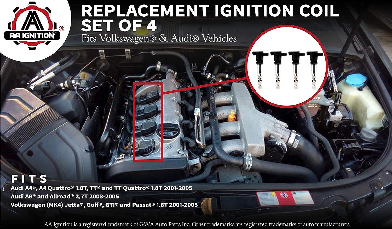 Amazon.com: Ignition Coil Pack - Set of 4 - Replaces# 06A905155D, 06B 905 115R - Fits Audi A4, A4 Quattro, A6 2.7T, Allroad 2.7T, TT, TT Quattro, ...