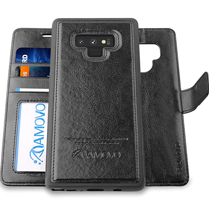 huge selection of f98a7 73685 AMOVO Case for Galaxy Note 9 [2 in 1] Samsung Galaxy Note 9 Wallet Case  [Detachable Folio] [Vegan Leather] [Wrist Strap] [Card Slot] [Kickstand]  Note ...