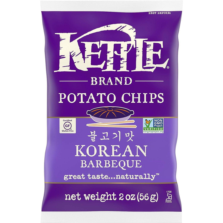 Kettle Brand Potato Chips, Korean BBQ Chips, Snack Bag 2 Oz (pack of 6)