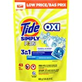 Tide Simply PODS +Oxi Liquid Laundry Detergent Pacs, Refreshing Breeze, 43 Pac Capsules,24 Ounces