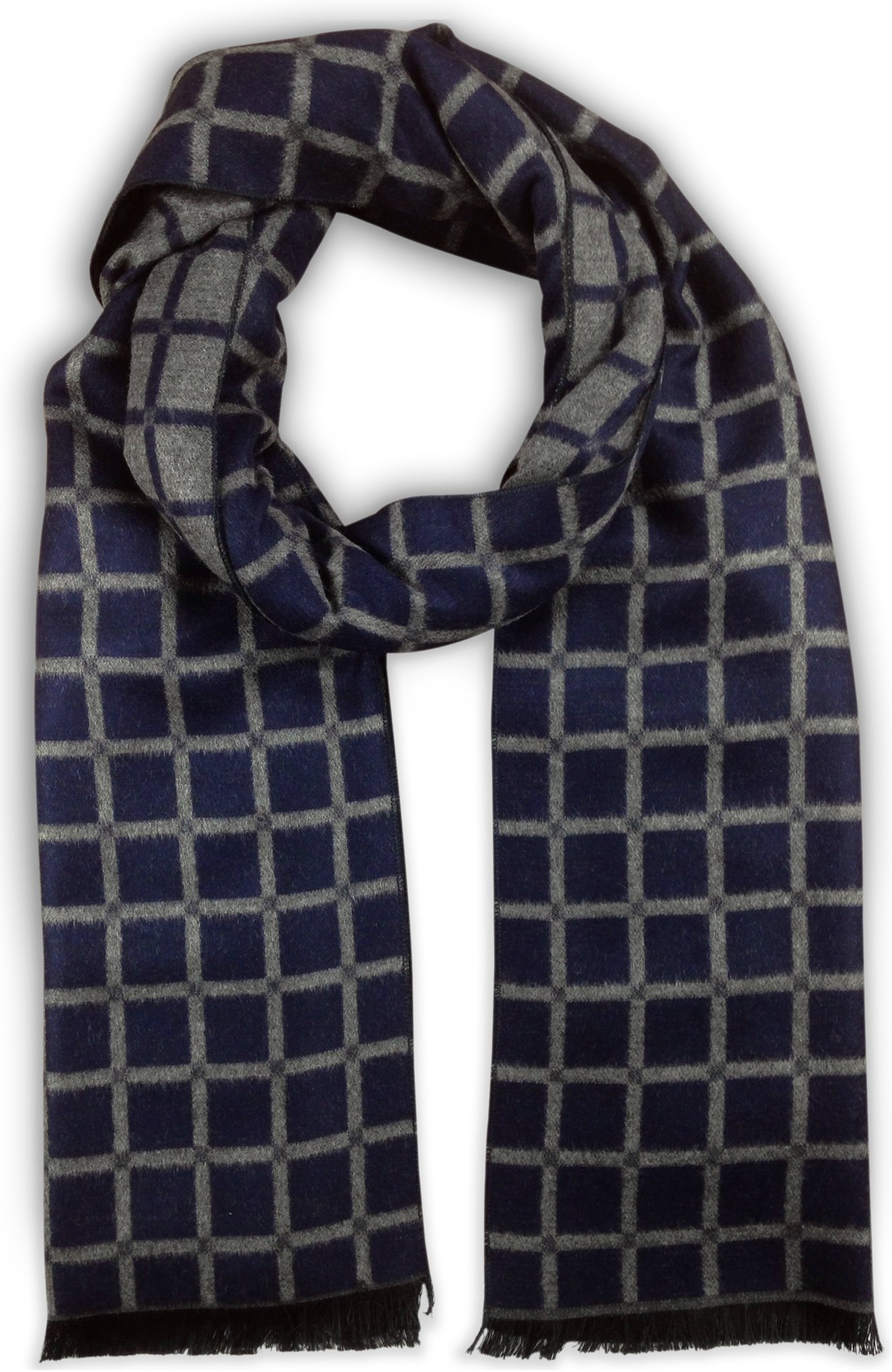 Bleu Nero Luxurious Winter Scarf for Men and Women – Large Selection of Unique Design Scarves – Super Soft Premium Cashmere Feel (Navy/Grey Windowpane)