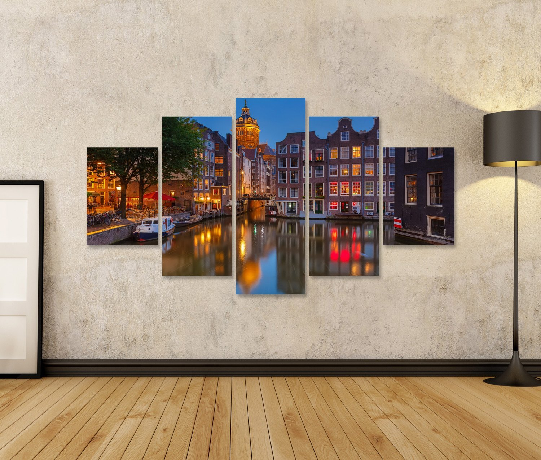 Islandburner Bild Bilder auf von Leinwand Nachtansicht von auf Nicolaaskerk in Amsterdam Wandbild Leinwandbild Poster 01df80