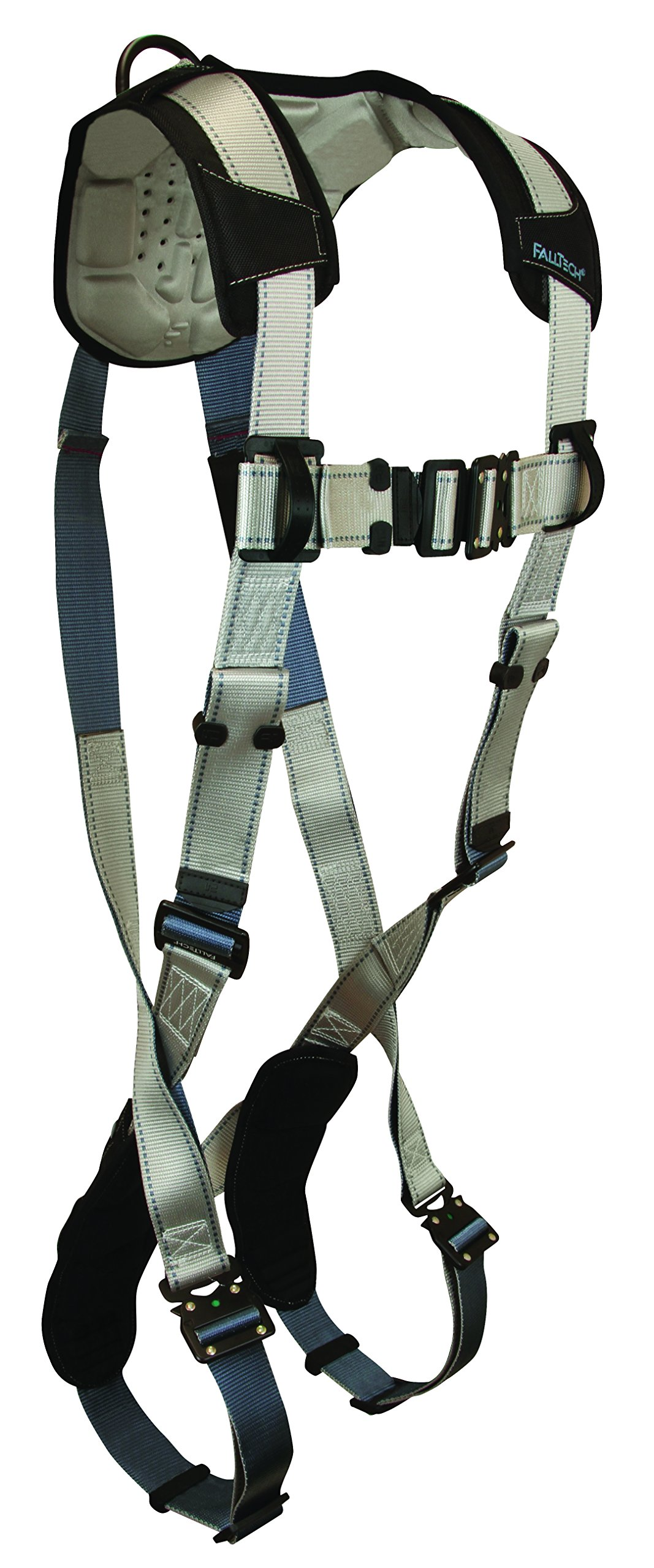FallTech 7087L FlowTech Non-Belted Full Body Harness with 1 Back D-Ring, Quick Connect Legs and Chest, FlowScape Shoulder and Leg Pads, Gray/Black, Large