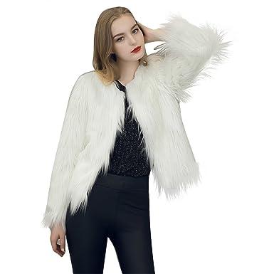 Longra Mujer Invierno Abrigo, Abrigo Mujer Chaqueta de Pelo Otoño e Invierno Párrafo Corto Color Romántico ❤️ Chaquetas de la Rebeca