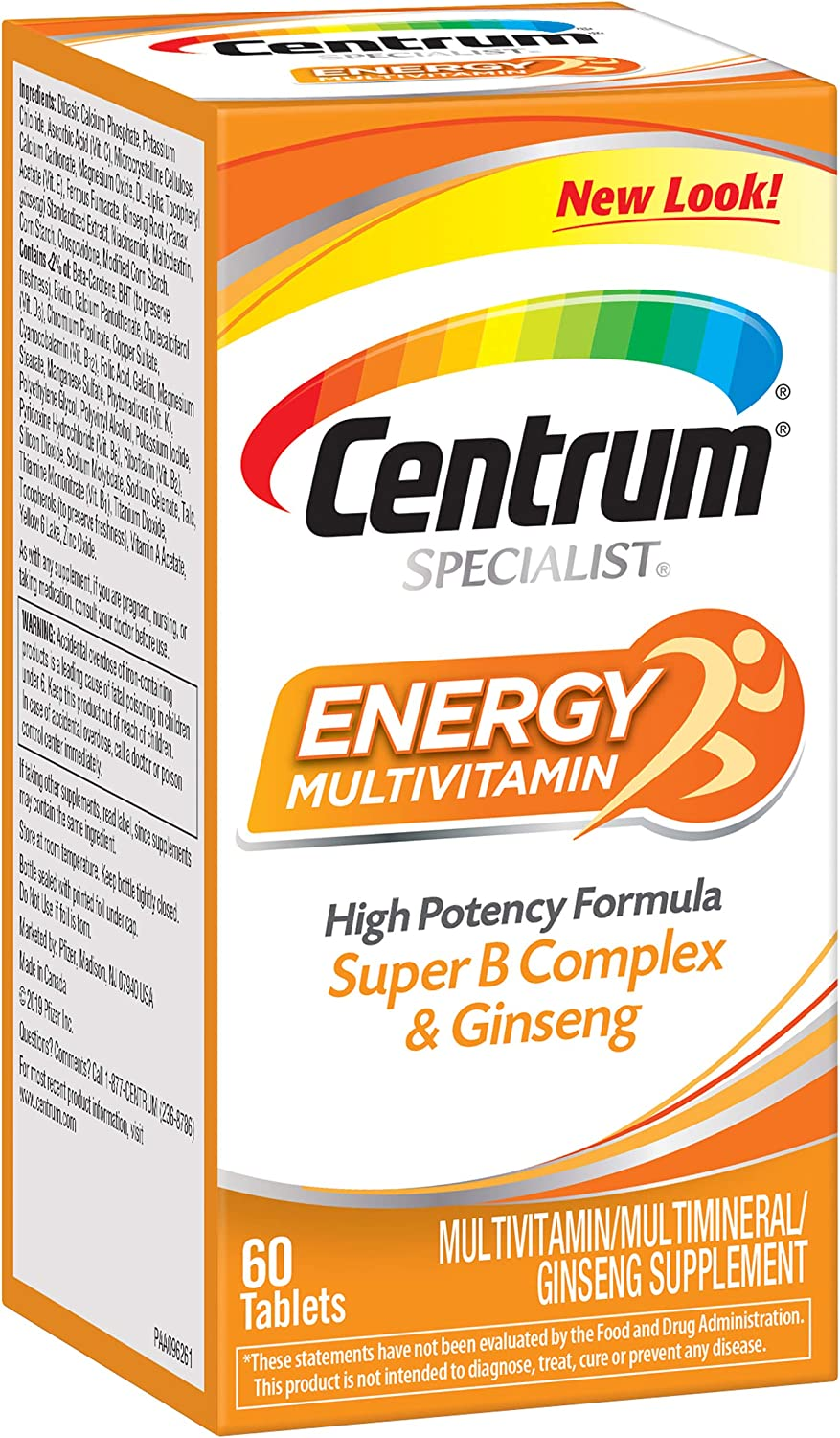 Amazon Com Centrum Specialist Energy Complete Multivitamin Supplement 60 Count Tablets Health Personal Care