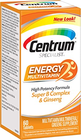 Centrum Specialist Energy Adult (60 Count) Multivitamin / Multimineral Supplement Tablet,Vitamin D3, C, B-Vitamins and Ginseng