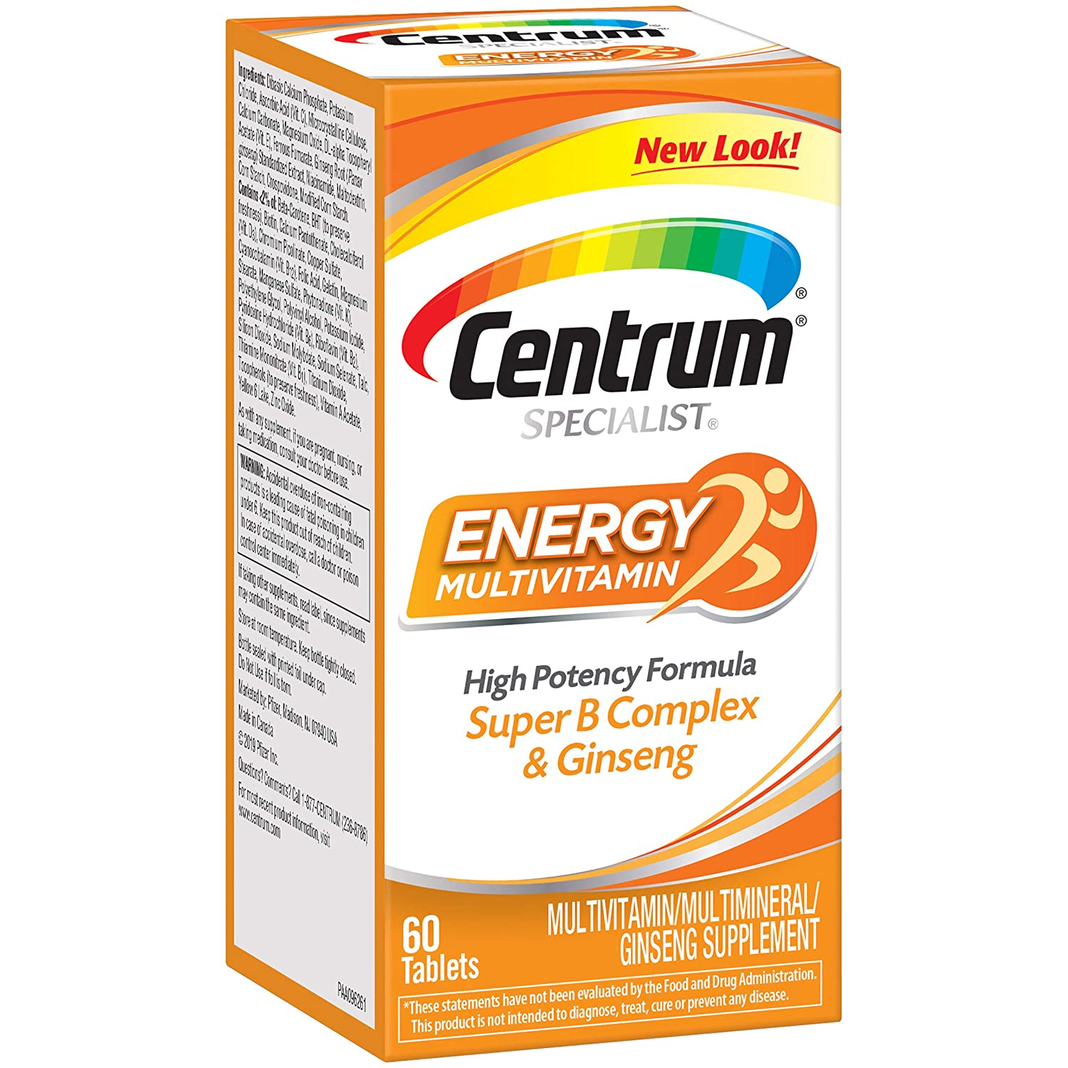 Centrum Specialist Energy Complete Multivitamin/Multimineral Supplement Tablet, Vitamin D3 and Vitamin C, 60 Count