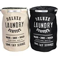 Harbour Housewares Laundry Clothes Baskets, Round Printed Canvas with Metal Hoop - Darks and Lights - Pack of 2