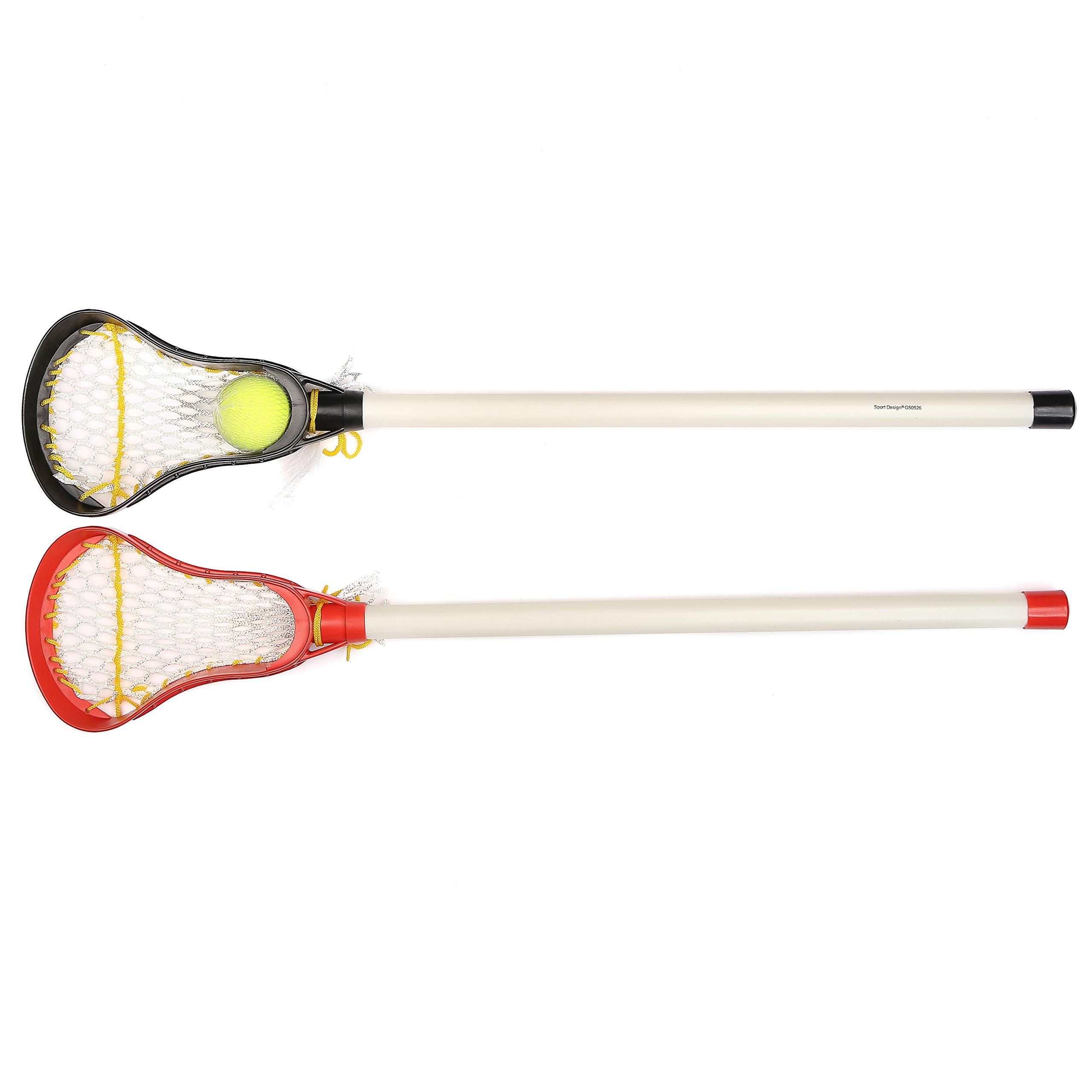 Kids Lacrosse Sticks - 2 Sticks (30 Inches) & 1 Ball - Soft Mesh Pockets, Durable Plastic Handles, & Large Head Design by Junior Lacrosse (Image #4)
