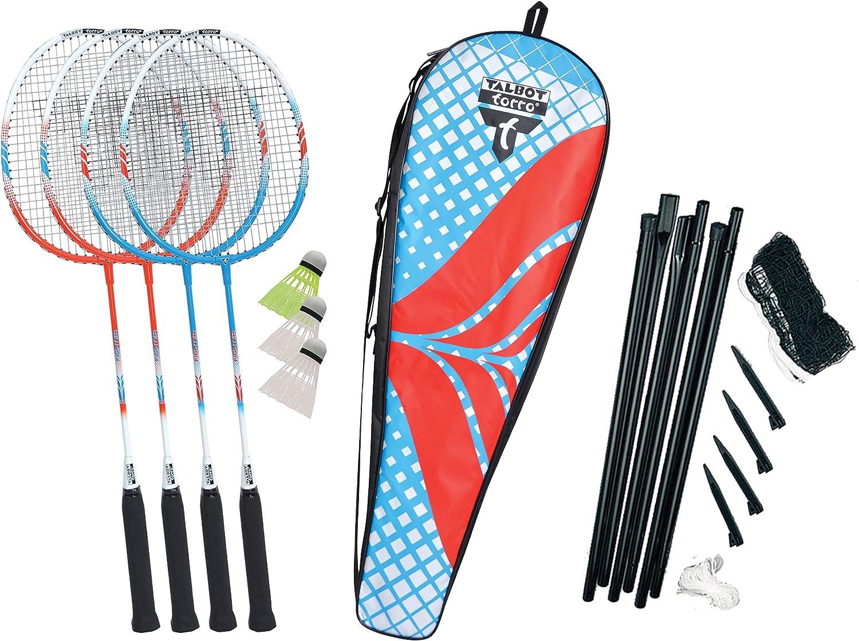4 Raquetas de Aluminio Livianas y Pr/ácticas en un Valioso Bolso 3 Volantes Talbot Torro 449408 Set de Badminton Premium 4-Fighter Juego de Red Completo