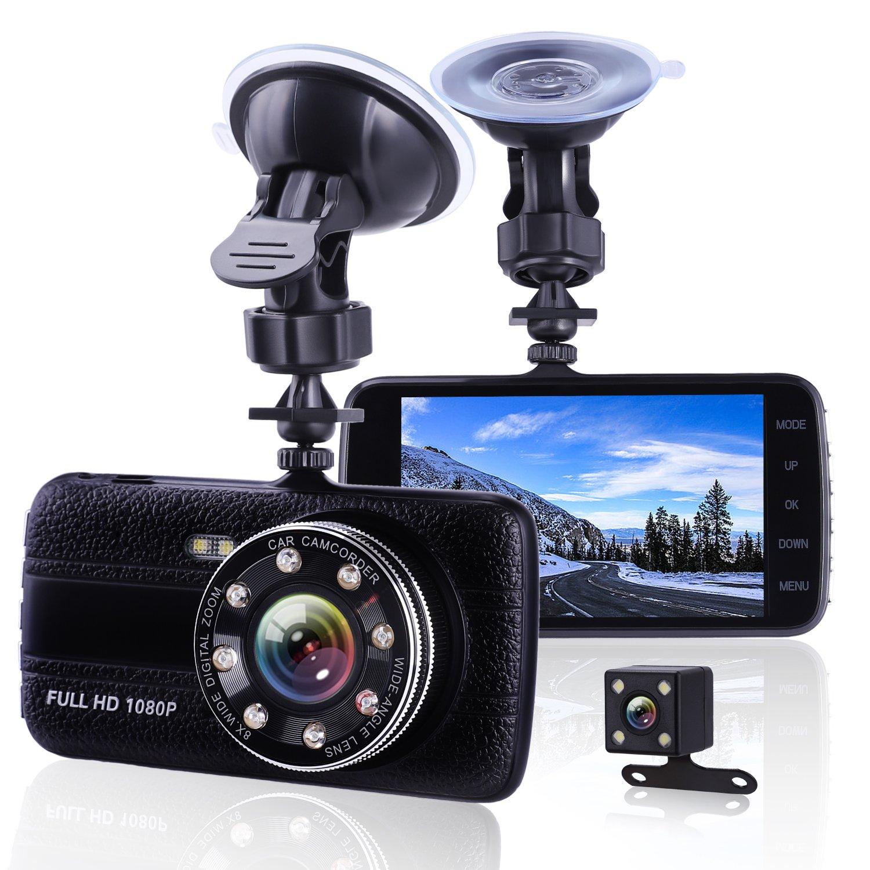 車カメラダッシュカム前面と背面デュアルカメラ、優れたナイトビジョン1080p HD車Dashcam、4インチLarge IPS画面車ダッシュボードカメラ、ビデオレコーダーG -センサー、ループ録画、モーション検出 B07CJFT951