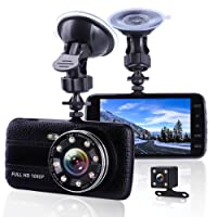 Car Camera Dash Cam Front and Rear Dual Camera, Superior Night Vision With 8 IR Lights Dashcams, 1080P Full HD Dashcam, 4 Inches Large IPS Screen Car Dashboard Camera, Car DVR Recorder With G-sensor, Loop Recording, Motion Detection, Parking Monitoring, Metal and Leather WDR Car Video Recorder with 170° Wide Angle Front Camera and 120° angle Rear Camera