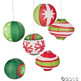 Paper Ornament Party Lanterns-Red/Green/White-(Pack of 6)
