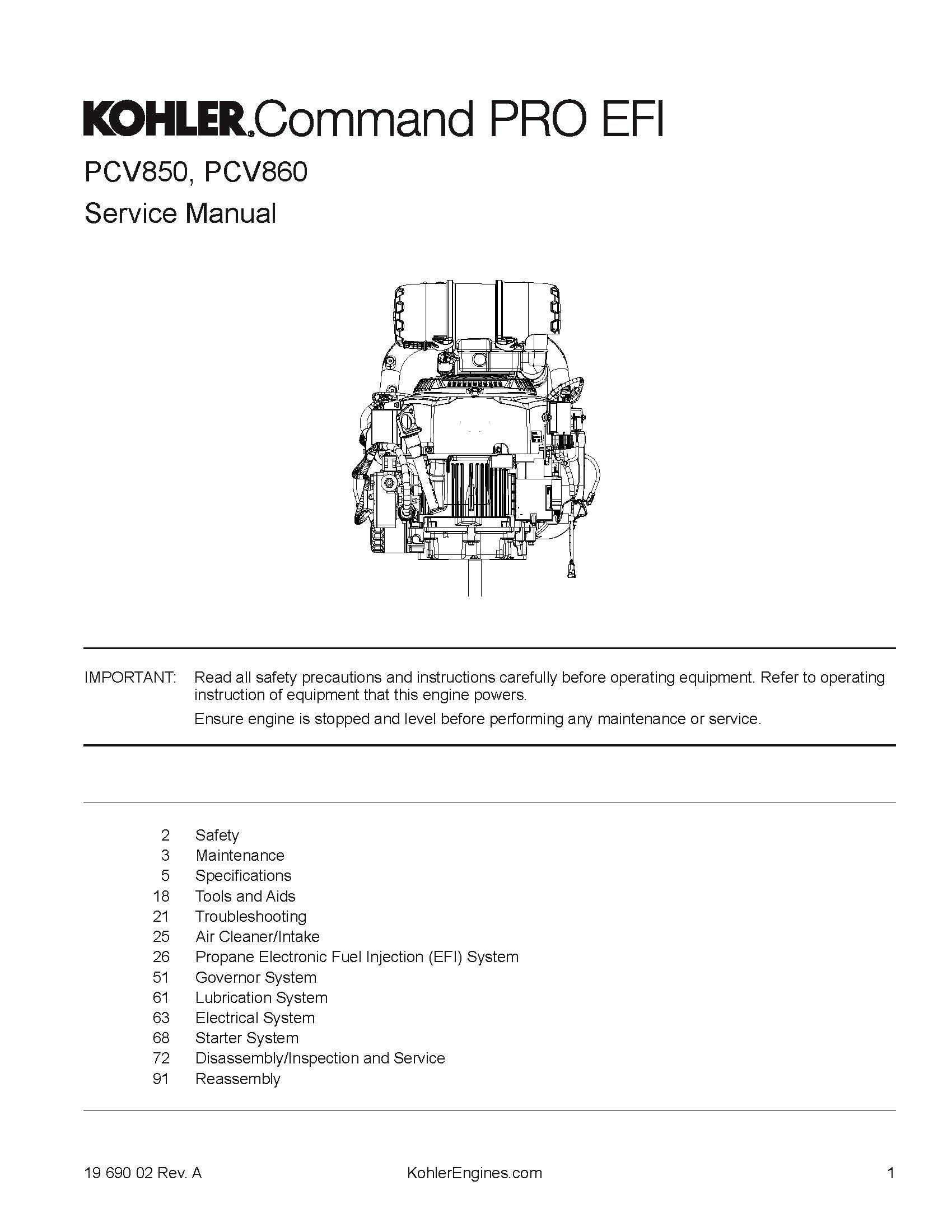 Kohler COMMAND PRO EFI PCV850, PCV860 Propane Engine Service Manual 19 690 02 Revision A [Black and White Loose Leaf] ebook