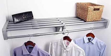 Charming EZ Shelf   40u0026quot;   73u0026quot; Expandable Closet Shelf U0026 Rod   Silver