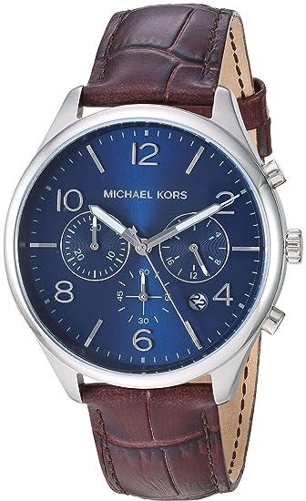 Michael Kors Reloj Cronógrafo para Hombre de Cuarzo con Correa en Cuero MK8636: Amazon.es: Relojes