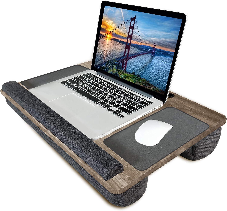 Lap Desk, Kavalan Laptop Desk with Mouse & Wrist Pad, Right & Left Handed Design, Fit up to 17.3 inch Laptop, MacBook, Tablet (Oak)