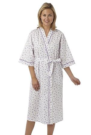 Ladies Poly/Cotton Kimono Style Wrapover Dressing Gown Pink Blue or ...