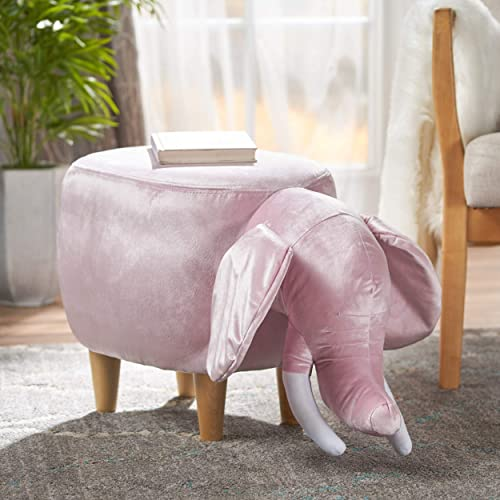 Christopher Knight Home Pink Velvet Elephant Ottoman