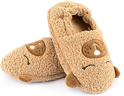 Cute Animal House Slippers for Kids Toddlers Dinosaur Indoor Slippers Warm Shoes Sole Fuzzy Boys Girls Home Slippers