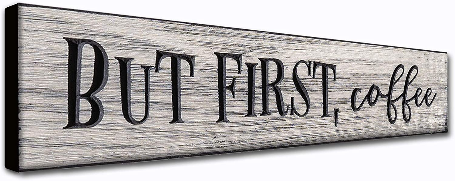 LACOFFIO But First Coffee Rustic Home Wall Art Decor Plaque Sign - 16 x 3.5 - Coffee Quotes Hanging Signs Housewarming Gift Idea