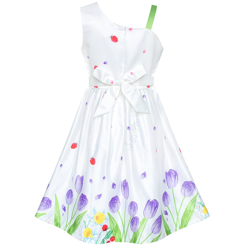 Sunny Fashion Vestito Bambina Viola Tulipano Fiore Cravatta a Farfalla Una Spalla 6-12 Anni