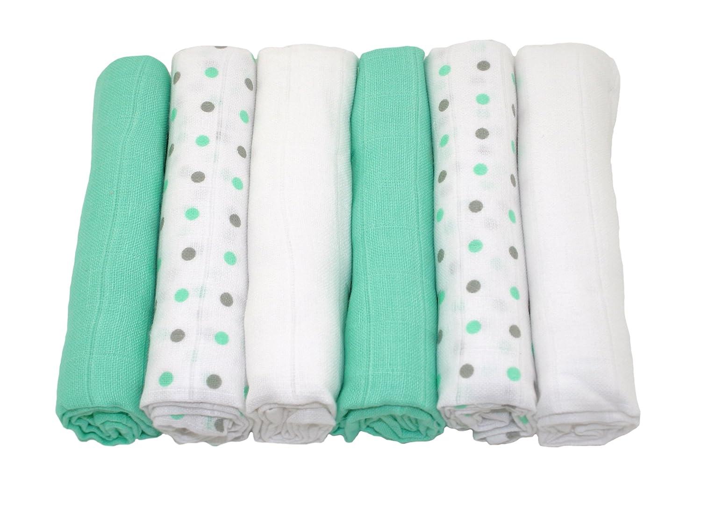 MuslinZ Pack of 6 Mint/Grey Unisex Combo 100% Cotton 70x70cms