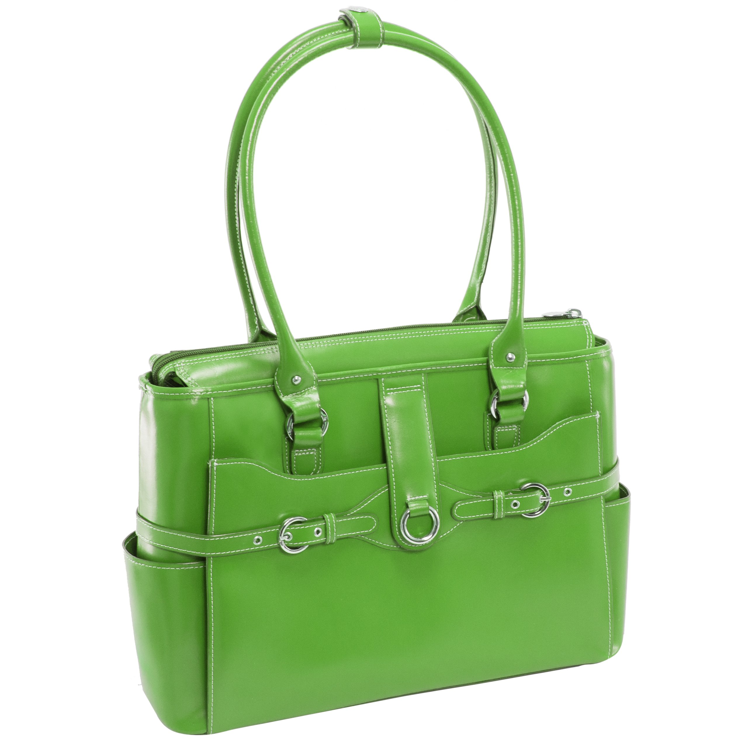 Women's Briefcase Tote, Leather, 15.6''in, Green - WILLOW SPRINGS | McKlein