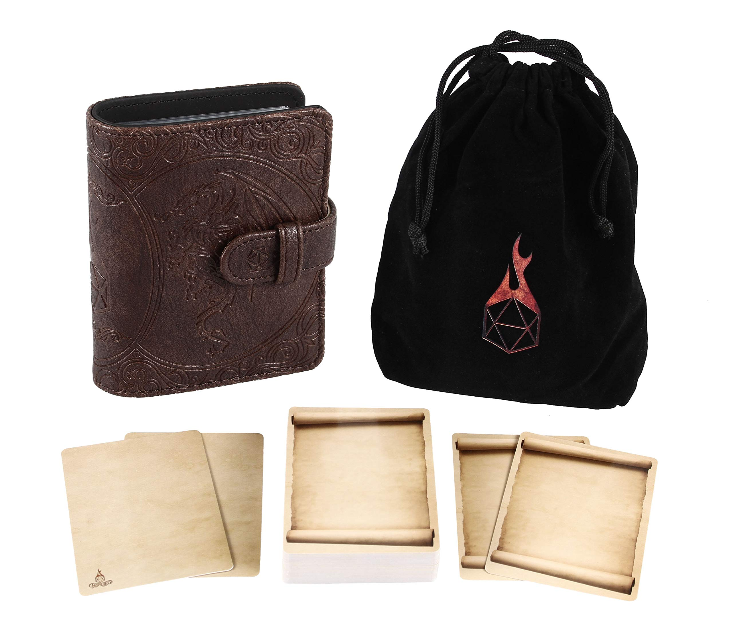 Forged Dice Co Book of Incantations (Dragon Edition) & Deck of Dry Erase Spell Cards with Velvet Storage Bag - Spellbook Cards Holder for Spell or Monster Cards - Fits DND 5th Edition or Magic Cards by Forged Dice Co.