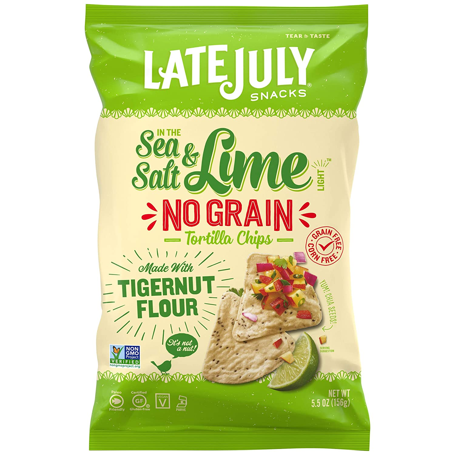 LATE JULY Snacks No Grain Tortilla Chips Sea Salt & Lime Chips, 5.5 Ounce Bag