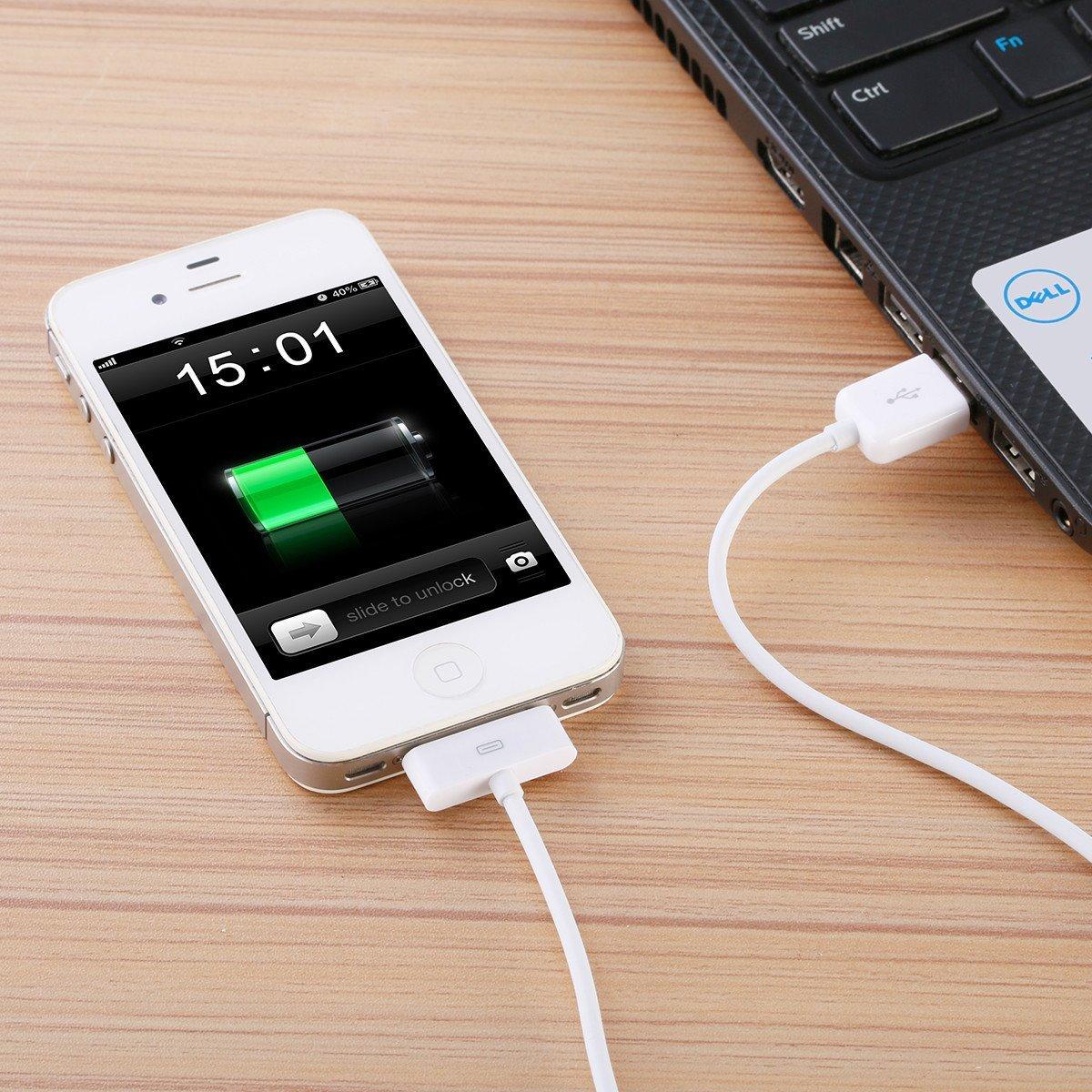 POWERADD, Cable USB para iPhone 4S / 4, Carga rápida, Ligero portátil
