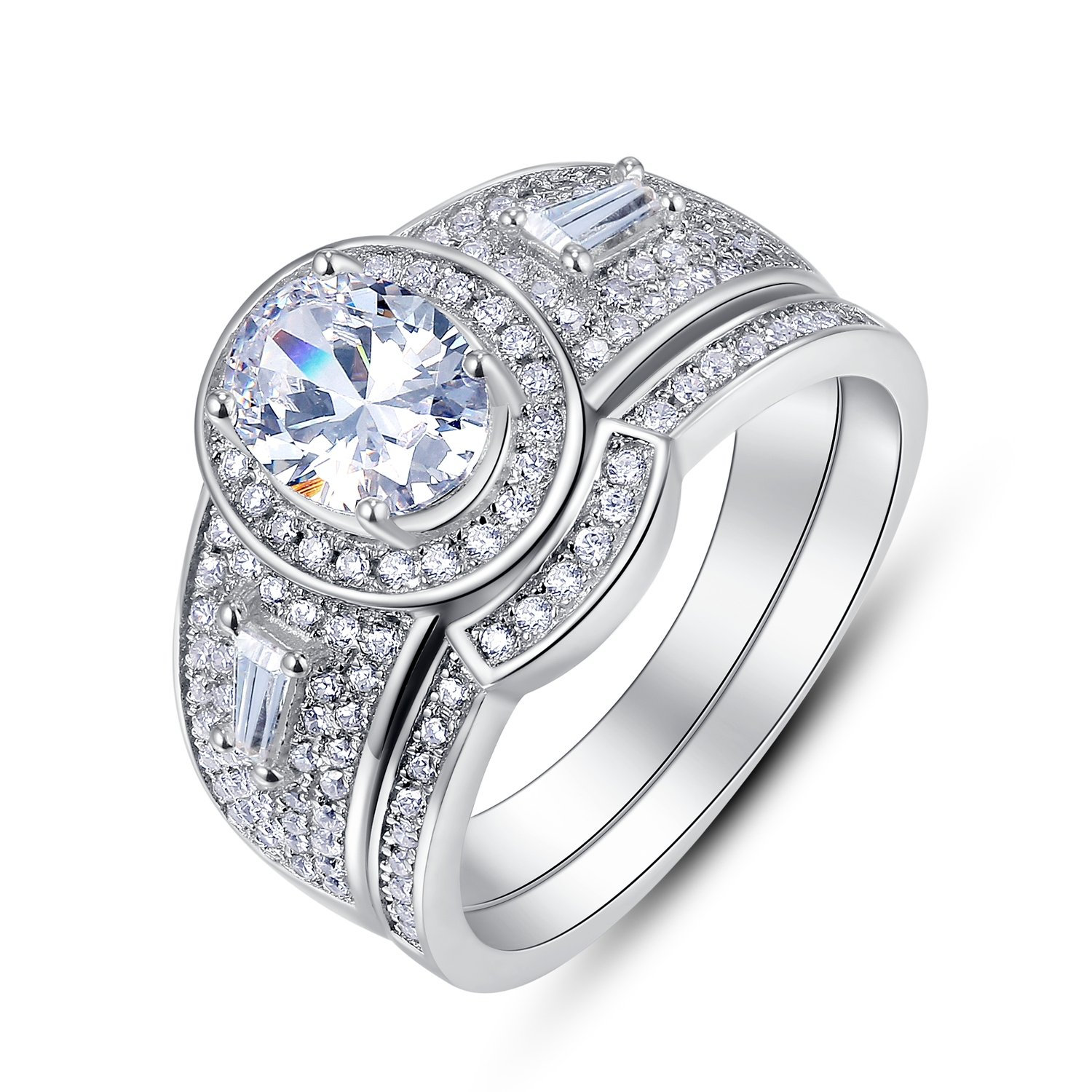 BL Jewelry Sterling Silver 2 Pieces Oval CZ Bridal Engagement Wedding Halo Ring Set