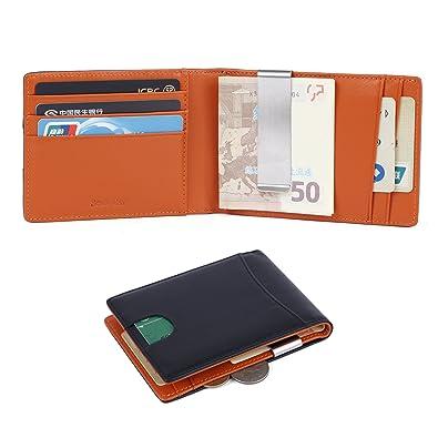 c74fd2739d85 Amazon | 二つ折り 財布[薄型、薄型、軽量の財布]薄型、本革-磁気 ...