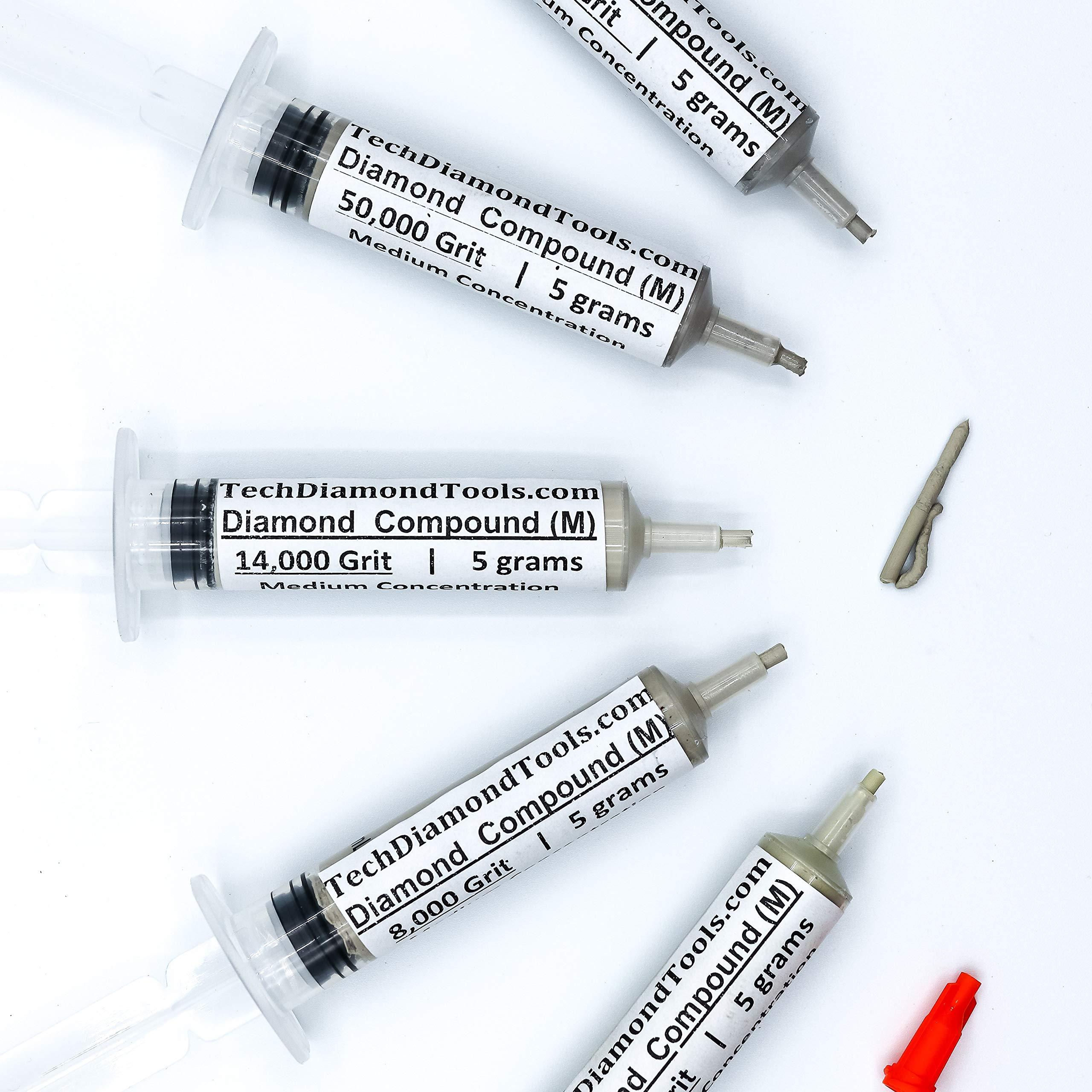 TechDiamondTools Diamond Polishing Paste Set of 5 Syringes X 5 Grams (M), Polishing Finishing Compound, Sizes 5000 8000 14000 50000 100000 Grit Mesh - With Medium(25%) Concentration of Diamond Powders