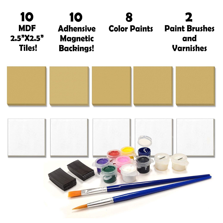 VHALE DIY Crear y pintar su propio juego de azulejos magnéticos ...