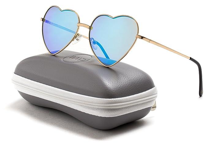 WearMe Pro Gafas reflectantes de mujer con montura de metal en forma de corazón de cupido