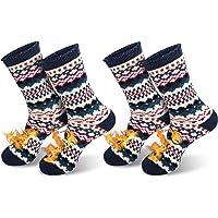 QINCAO Calcetines Térmicos Invierno Mujer Hombres 2 Pares de Navidad Calcetines Calor Suave Cómodo Largos (Talla…