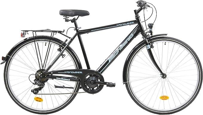 F.lli Schiano Voyager Bicicleta Trekking, Mens, Negro-Azul, 28: Amazon.es: Deportes y aire libre