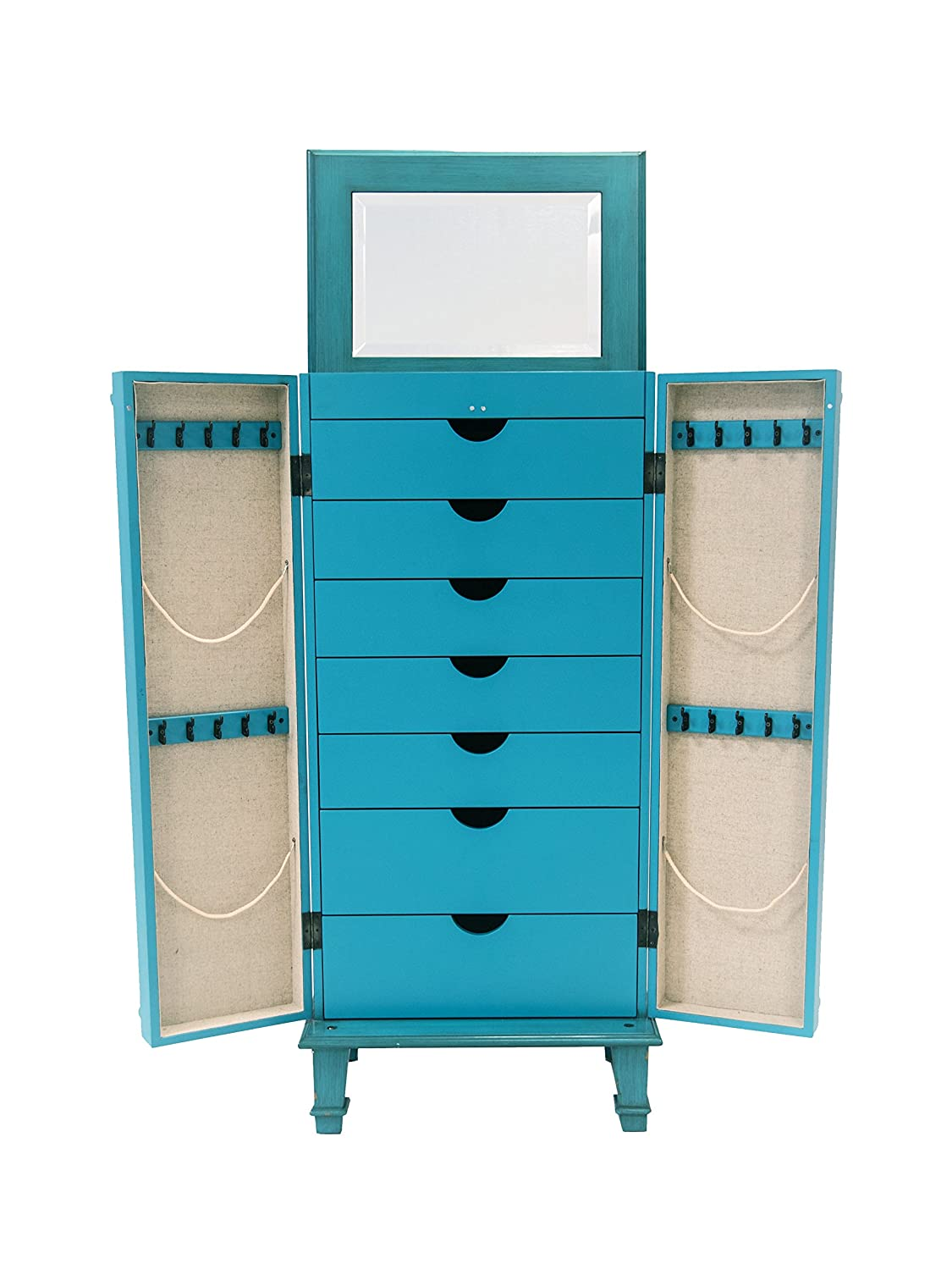 Hives & Honey Cabby Fully-Locking Jewelry Armoire, Turquoise 2005-777