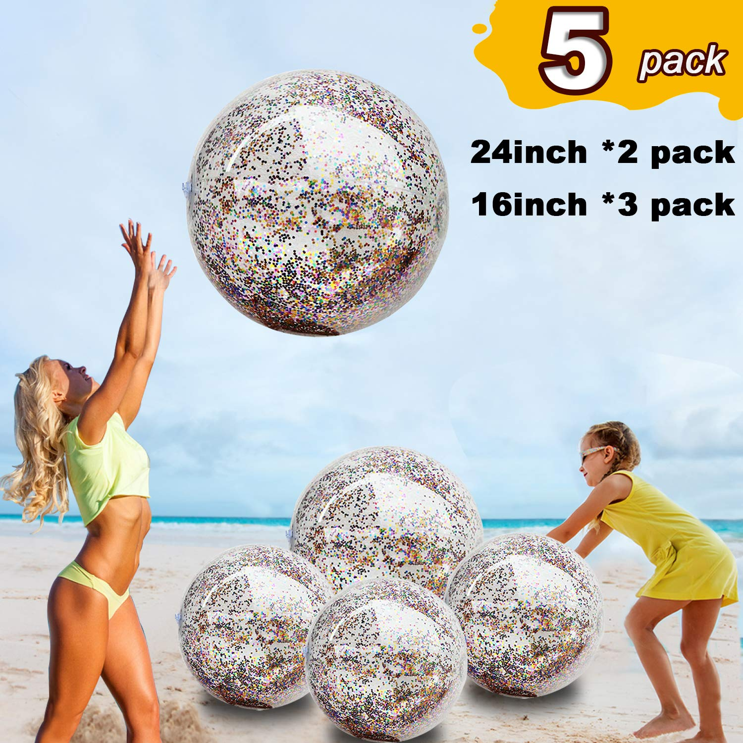 5 Pack Sequin Beach Ball Jumbo Pool Toys Balls Giant Confetti Glitter Inflatable Clear Beach Ball Swimming Pool Water Fun Toys Outdoor Summer Party Favors for Kids Adults (24''-2 Pieces,16''-3 Pieces) by TURNMEON