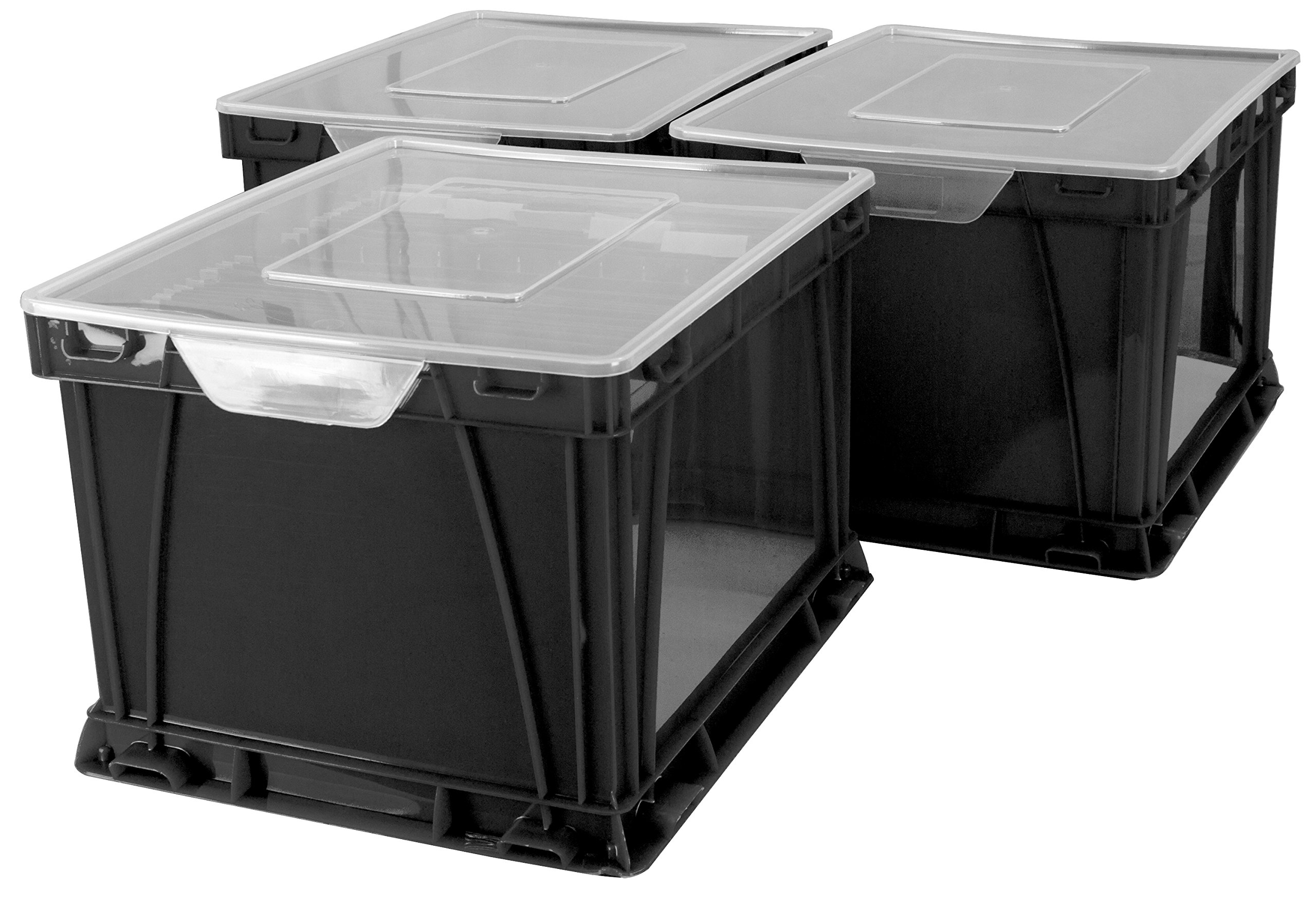 Storex Storage and Filing Cube, 17.25 x 14.25 x 10.5 Inches, Black/Clear, Case of 3 (STX62005U03C)