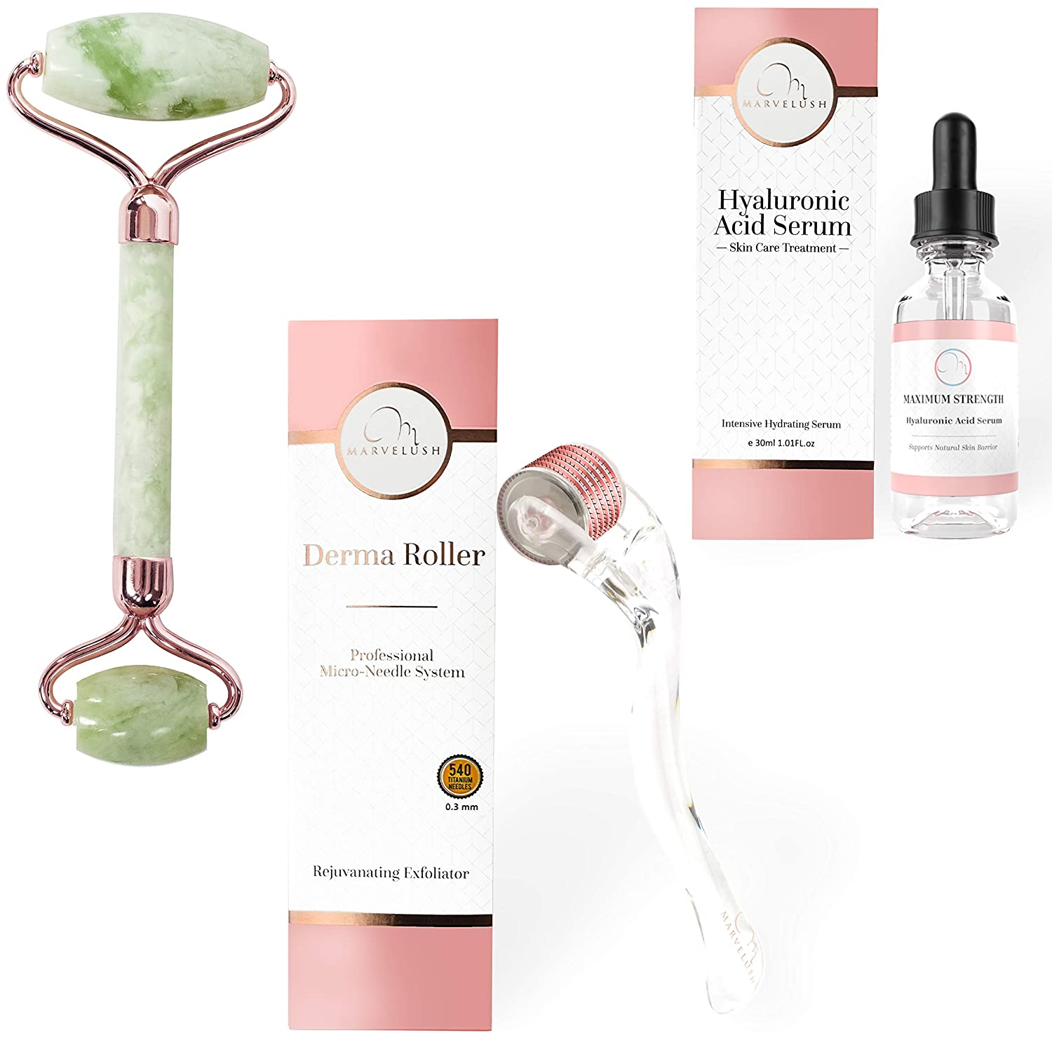 Derma Roller, Jade Roller, Hyaluronic Acid Serum | 6 in 1 Facial Kit | 540 Titanium Microneedles 0.3mm | Ebook | Disinfectant Cup | Travel Bag | ✨Marvelush Skincare ✨