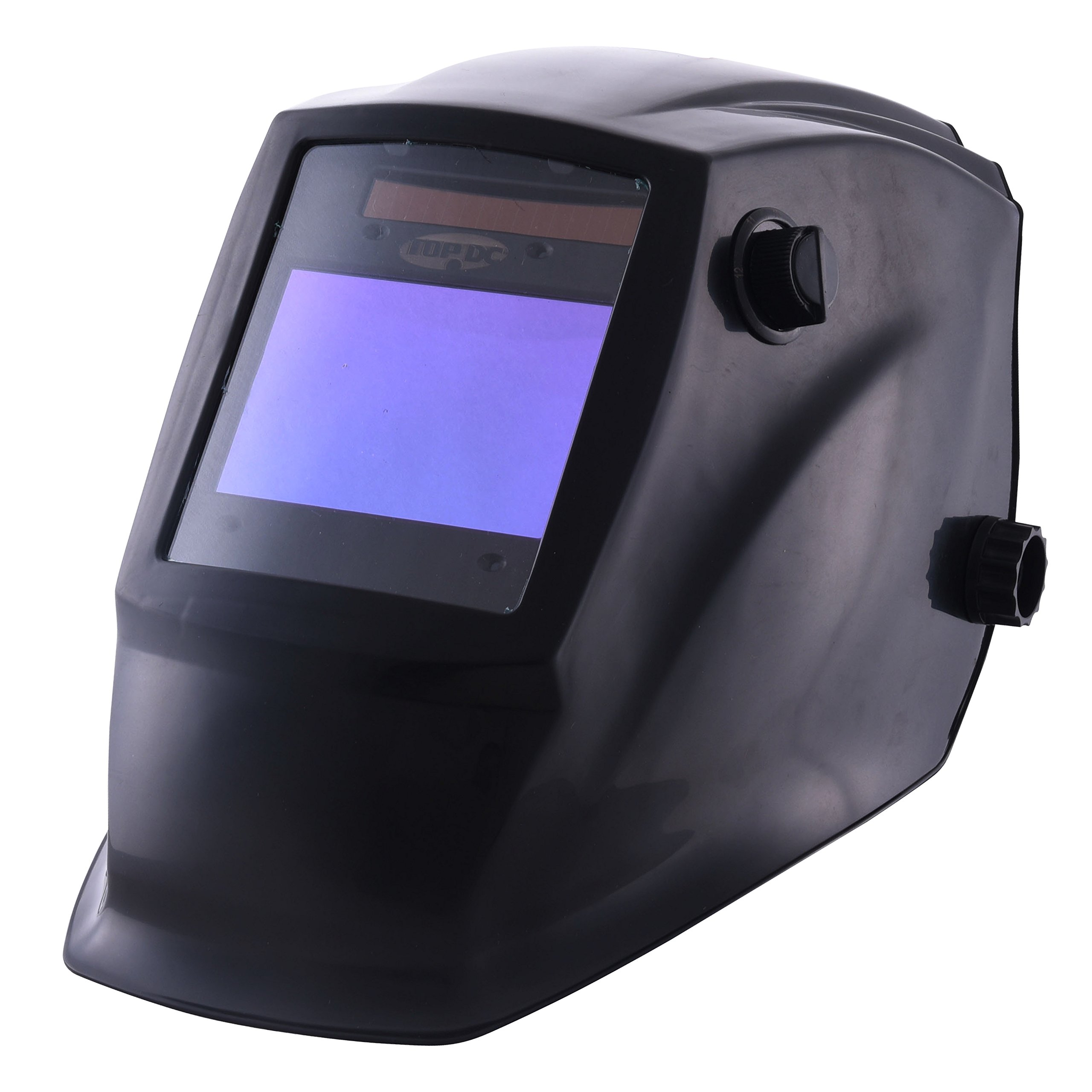 TOPDC Solar Power Auto Darkening Welding Helmet with Optical Class 1/1/1/2, Viewing Area 3.93''X2.63'', Shade Range 4/5-9/9-13 with Grinding Feature for TIG MIG MMA Plasma