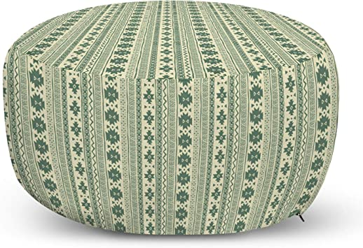 Ambesonne Aztec Pouf Cover With Zipper Vertical Borders With National Motifs Tribal Culture Soft Decorative Fabric Unstuffed Case 30 W X 17 3 L Reseda Green And Beige Furniture Decor