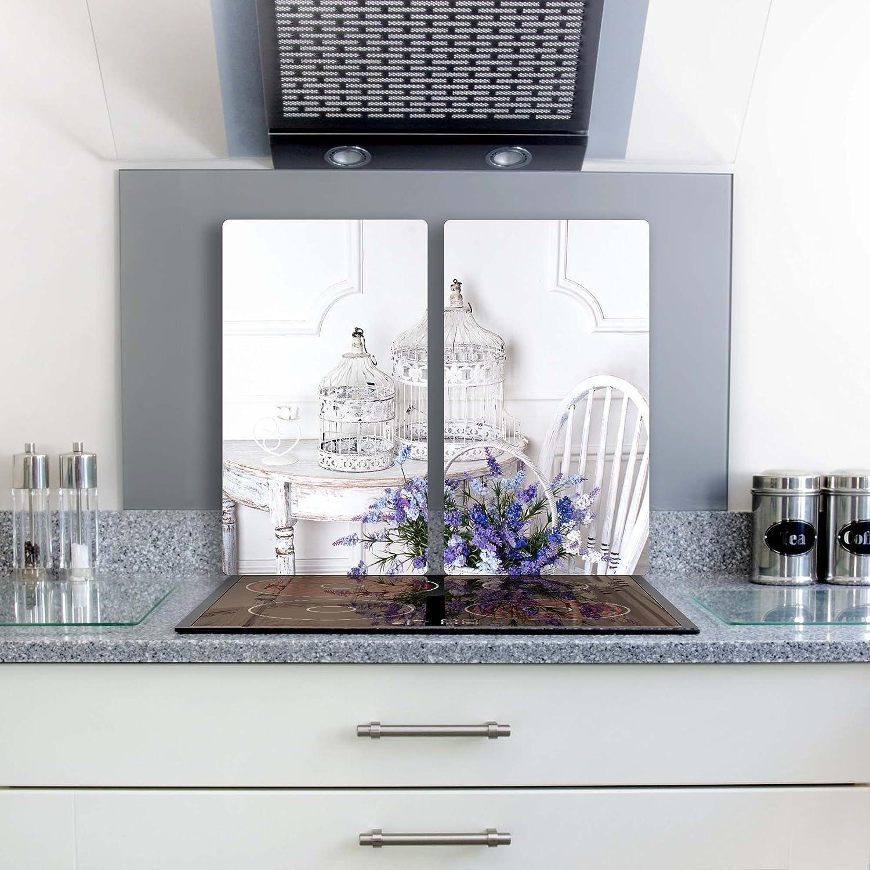 Ceranfeldabdeckung Herdabdeckplatten Schwarz 2x30x52 cm Spritzschutz Glas Deko
