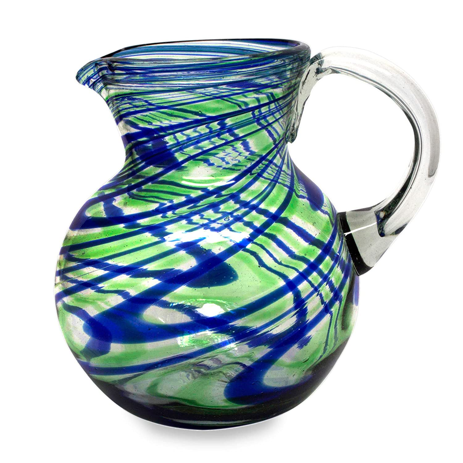 NOVICA Blue Green Hand Blown Glass Pitcher, 84 oz, Elegant Energy' Elegant Energy' 228948