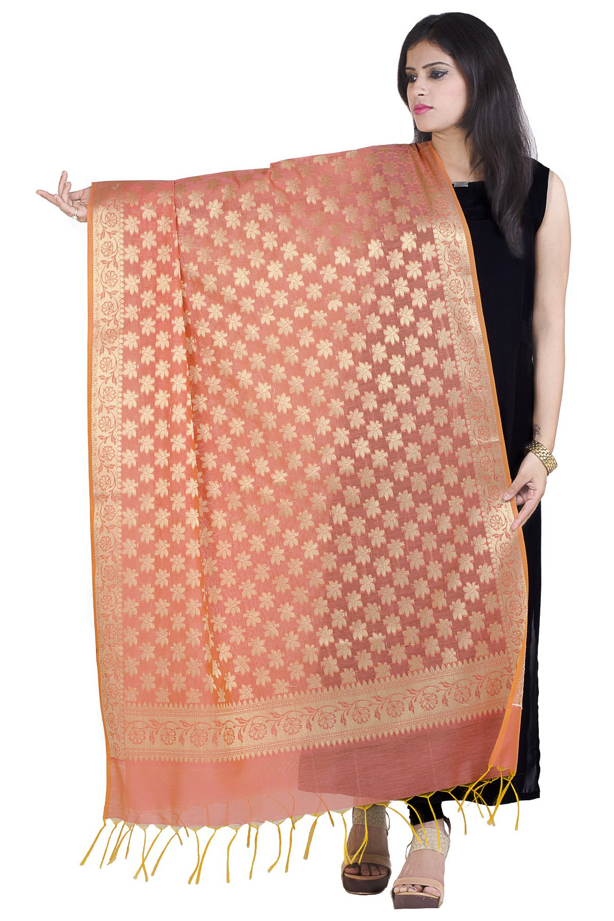 Chandrakala Women's Handwoven Zari Work Banarasi Dupatta Stole Scarf (Orange)