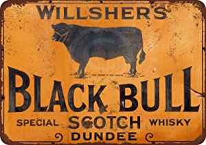 HomDeo Indoor Willshers Black Bull Scotch Whiskey Decor Art Metal Signs Vintage Tin Sign 8
